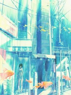 Drawing ilustration city anime art New Ideas Art Anime, Anime Kunst, Anime Artwork, Manga Art, Anime Comics, Illustrations, Illustration Art, Underwater City, Anime City