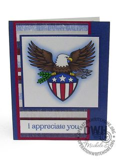 "Image by Doodle Pantry ""Freedom Eagle; Sentiment by Hero Arts ""Happy Birthday"""