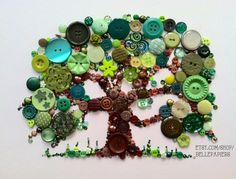 Button Tree of Life Button Art with Swarovski Rhinestones Button Oak Tree Button Tree Art, Button Wall Art, Fall Crafts, Crafts To Make, Arts And Crafts, Paper Crafts, Bead Crafts, Diy Buttons, Vintage Buttons