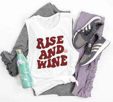 Rise And Wine Muscle Tank - Wine Bachelorette Party Muscle Tank - HighCiti