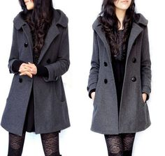 Womens Single Breasted Hooded Wool Blended Coat Jacket Winter Parka Coat Plus Sz