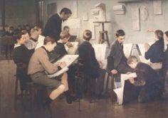 Henri Jules Jean Geoffroy Une leçon de dessin à l'école primaire 1895