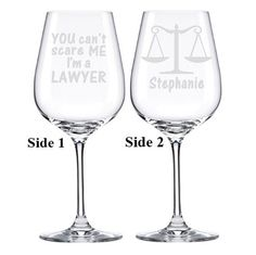Lawyer Gift Wine Glass Law Student School Graduation Attorney Etched Drinking