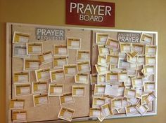 This is a great idea for a Prayer Board, having a Prayer Request side and an Answered Prayer side! Prayer Corner, Prayer Wall, Prayer Room, Prayer Board, Prayer Ministry, Youth Ministry, Children Ministry, Children Church, Youth Group Rooms