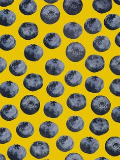 Blueberry pattern Art Print - Georgiana Paraschiv.  Blueberries and yellow!