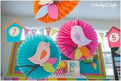 owl chevron polka dots pink green orange turquoise lavender blue brown birds classroom theme and dec