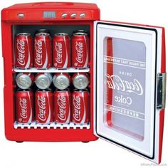 Perfect for in the games room, workshop, dormitory, kitchen or office, this countertop Coca-Cola themed refrigerator keeps up to 28 cans of your favorite beverage chilled and ready to enjoy. Coca Cola Mini, Coca Cola Kitchen, Coca Cola Decor, Outdoor Movie Nights, At Home Movie Theater, Mini Fridge, Coke, Pepsi, Canning