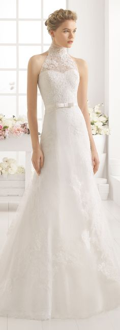 Aire Barcelona highneck wedding dress 2016 collection