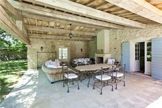 Provence outdoor living! Outdoor Rooms, Outdoor Living, Outdoor Decor, Provence, Door Grill, Screened In Patio, Garden Pool, Plein Air, Terrazzo