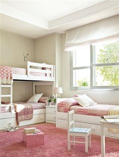 Little girl bedroom @Heidi Haugen Leach  CHECK OUT THE BUNK BEDS AND ONE TWIN BED---PERFECT FOR 3 KIDS SHARING A BEDROOM