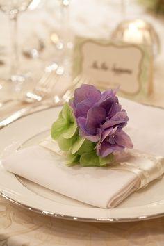 Decoración floral para eventos www.Eventomice.com  place setting w/hydrangea