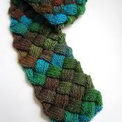 Evan Entrelac Scarf - via @Craftsy - gorgeous colours (turquoise, brown, green)