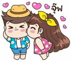 Boobib Cute Couple : Summer of love – LINE Stickers Chibi Couple, Couple Cartoon, Cute Cartoon Pictures, Cute Pictures, Akira, Gif Lindos, Cute Love Gif, Cute Love Cartoons, Couple Illustration
