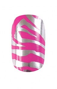 HND Nail Wraps - Zebra Pink and Silver |Hollywood Nail Design 5.50