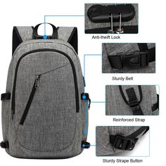 XQXA Laptop Backpack,College School Bag with USB Charging Port and Headphone Jack Water Resistant School Rucksack Inch PC Computer Backpack Bags for Business,Work,Travel Rucksack Bookbag Grey Computer Backpack, Pc Computer, Backpack Bags, Sling Backpack, Usb, Thing 1, Phone Gadgets, Work Travel, School Bags