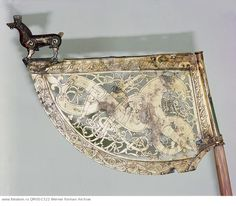 Weather vane. Before being placed on a church as a weather vane, this flew at a warship's prow. Country of Origin: Sweden. Culture: Viking. Date/Period: 10th C. Place of Origin: Soderala, Halsingland. Material Size: gilt-bronze. Credit Line: Werner Forman Archive/ Statens Historiska Museum, Stockholm . Location: 18.
