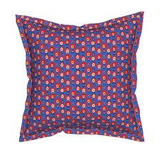 Serama Throw Pillow featuring Raggedy Heads Fabric 2 by lworiginals | Roostery…