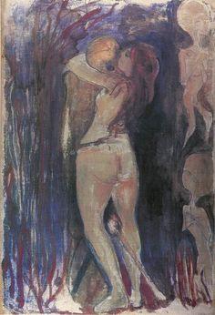 Edvard Munch, Jonge vrouw de dood omhelzend, 1894, olieverf op doek, 128 x 86 cm, Munch Museum, Oslo - Informatie over dit schilderij: http://www.artsalonholland.nl/schilderijen-symbolisme/munch-jonge-vrouw-de-dood-omhelzend