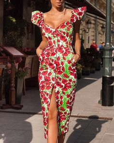 Floral Print Slit Ruffles Design Dress We Miss Moda is a leading Women's Clothing Store. Offering the newest Fashion and Trending Styles. African Print Dresses, African Print Fashion, African Wear, African Attire, African Fashion Dresses, African Dress, Mode Outfits, Fashion Outfits, Ankara Styles