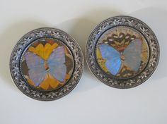 French bottle coaster ornate mats with decoupage butterflies by Histoires on Etsy #coaster #mat #butterfly #vintage #french #histoires #etsy