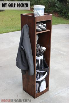 DIY Golf Bag Locker | Free Plans | rogueengineer.com #DIYbaglocker #garageDIYplans