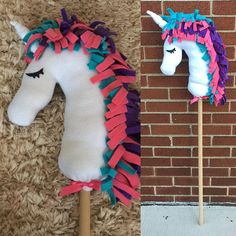 {unicorn hobby horse} Handmade play horse for your little bunny to use in their fairy tale play. Unicorn is 3ft tall from horn to wooden stick {Created with} *Soft fleece *Wooden dowel *Vinyl *Poly-fil {Customize Option} Add a Name for $10