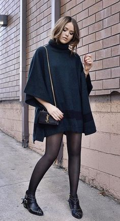 Black Dress With a Poncho, Tights, and Booties
