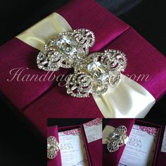Luxury Couture Invitation Box! Dark magenta silk wedding invitation box with silver diamond brooches - Couture invitations and more