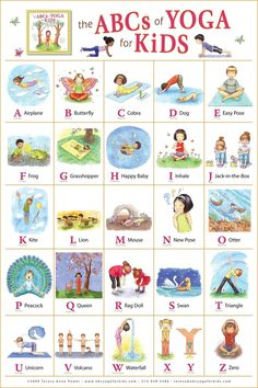 ABC yoga for kids. Learning the ABC and learning poses for yoga! Yoga For Kids, Exercise For Kids, Kids Yoga Poses, Children Poses, Young Children, Summer Classes For Kids, Stretches For Kids, Morning Stretches, Morning Yoga