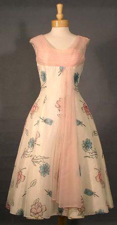 Chiffon 1950's Cocktail Dress w/ Aqua & Pink Flowers