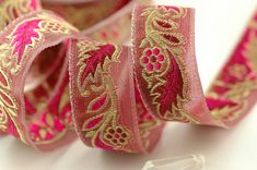 Winterberry Sparkle / Pink Gold Ornate Trim by WomanShopsWorld, $4.75 #delicious #trim #ribbon #sariborder #womanshopsworld #etsy