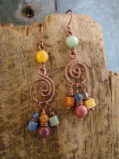 Fun Hippie Boho Dangle Earrings Assorted Stones  15.00