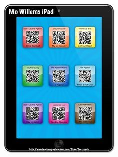 Make your listening center fun and engaging by using a technology device.  Students scan QR Code and then listen (and see!) a story on their technology device!  So Cool!  Try this one with books by Mo Willems!