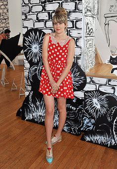 tennessee thomas // red & white polka dot dress w. peter pan collar + top knot
