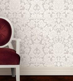 I love this silver/white damask wallpaper!