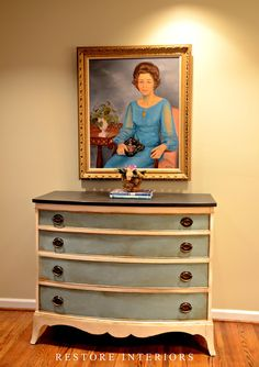 Painted Bow Front Chest with gold gilding