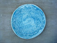 Ceramic plate, ceramic dish, pottery plate, presentation plate, ceramic dishware, napkin plate, wedding gift, blue ceramic plate, lace plate - pinned by pin4etsy.com