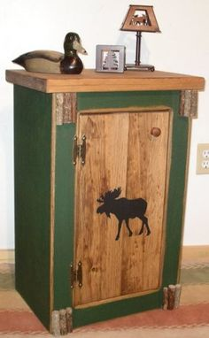 Furniture - Rustic Pine — Woodland Moose Night Stand / End Table — Woodland Things - Our customers praise this line of pine furnishings as the most versatile and inexpensive decor wit - Rustic Desk, Rustic Cabin Decor, Rustic Wood, Rustic Cafe, Rustic Restaurant, Rustic Office, Bedroom Rustic, Rustic Nursery, Rustic Cottage