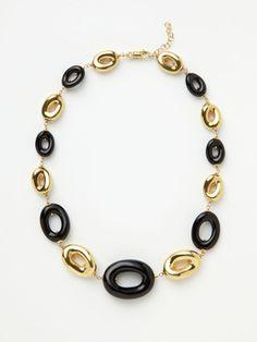 Faraone Mennella - luna gold & black agate necklace