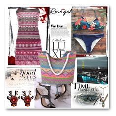 """Tropical Print Halter Bikini - Purplish Blue"" by ane-twist ❤ liked on Polyvore featuring Zara and ArtWall"