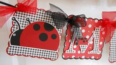 Checkered Banner with Tulle Bows Close-up