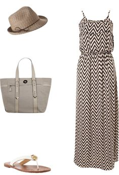 Nautical inspired navy blue and tan chevron dress + matching bag, fedora + white sandals
