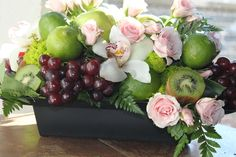 Fruit, orchids, roses