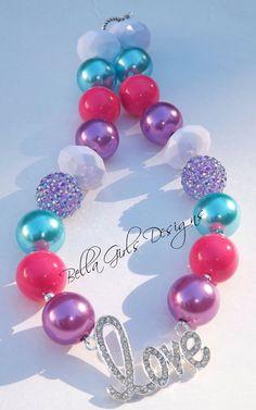 Love Diamond Pendant Chunky Necklace on Etsy, $18.00