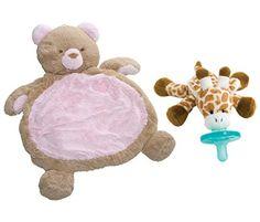 Bestever Baby Mat Pink Bear with WubbaNub Infant Pacifier Giraffe