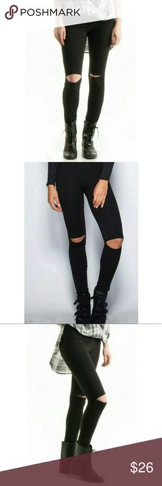 "‼️COMING SOON‼️Cutout knee high waisted leggings! Cut out knee, high waisted leggings. 95% cotton and 5% spandex. Made in the USA . Coming soon! Click ""like"" to save this on your wishlist because these sell out fast! Thanks for looking! Fashionomics Pants Leggings"