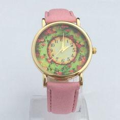 Fashion 5 Colors Women Dress Watch Pastorale Floral Women PU Leather Band Analog Quartz Dial Wrist Watch Best Bracelet Watches