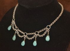 Chainmaille Necklace with Stone Beads