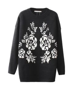 Floral Jacquard Weave Medium Style Sweater