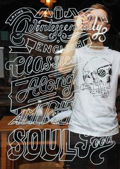 Outline of letters in white ink on glass hand lettered sign cursive sans serif shapes fit together line work Window Illustration for Jam Jar by Ashley Willerton, via Behance Chalkboard Lettering, Typography Letters, Typography Logo, Window Mural, Window Signage, Mural Wall, Window Writing, Sign Writing, Types Of Lettering